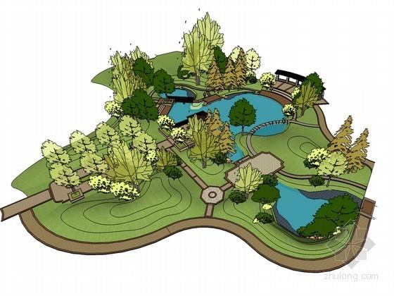 小公园SketchUp模型下载