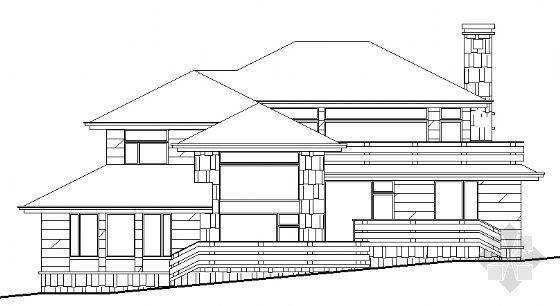 某二层坡地别墅建筑设计方案图