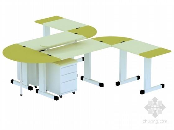 时尚办公桌3D模型下载