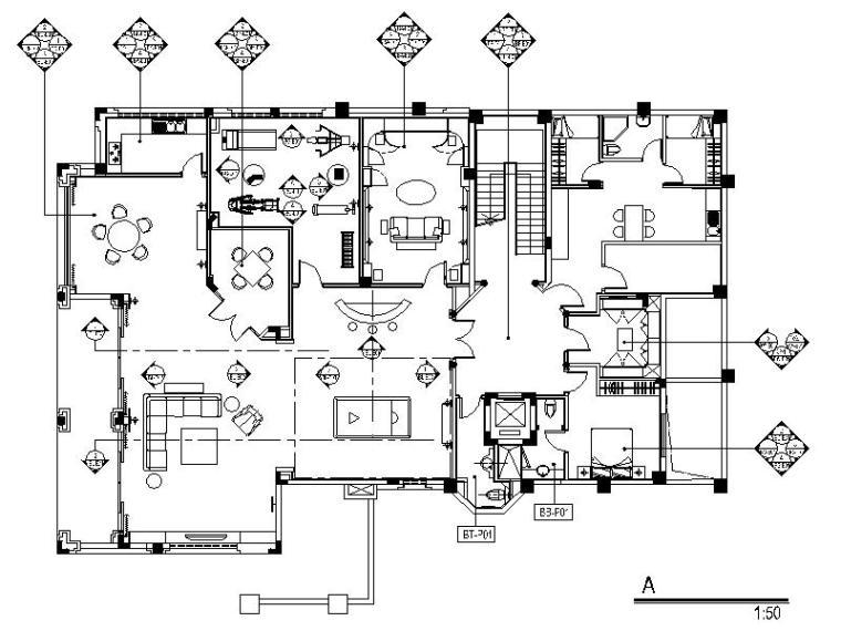 [深圳]简欧豪华高尔夫别墅室内设计施工图(含效果图)