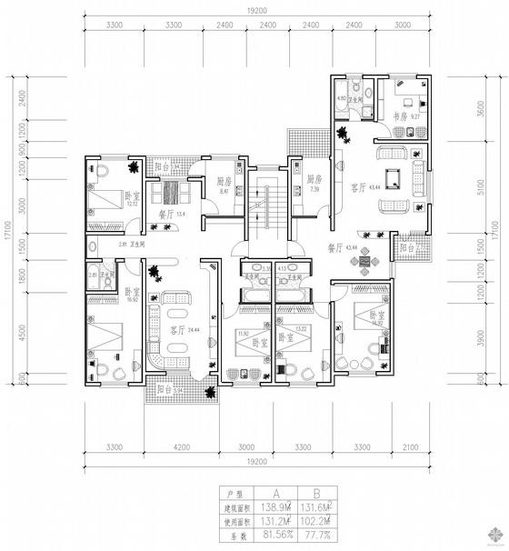 板式多层一梯两户三室二厅户型图(139/132)