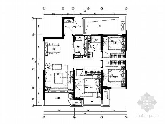 [南京]时尚现代简约风三居室样板间装修施工图