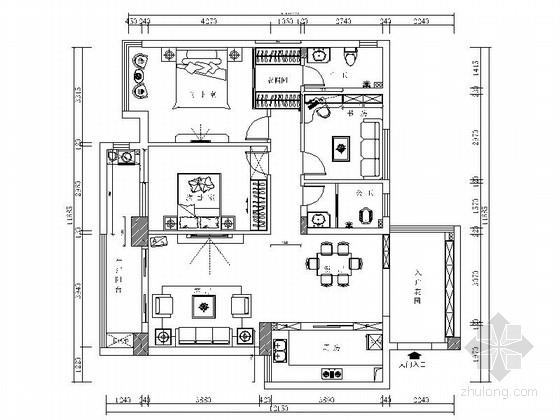 [荆门]精致新中式风格三居室样板间CAD装修施工图(含效果)
