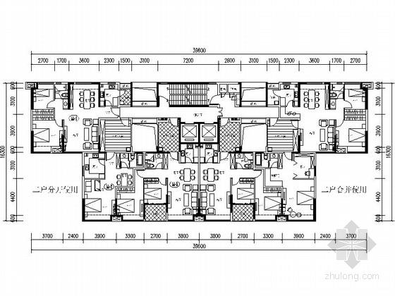 [万科户型]一核六户高层住宅户型平面图(461平方米)