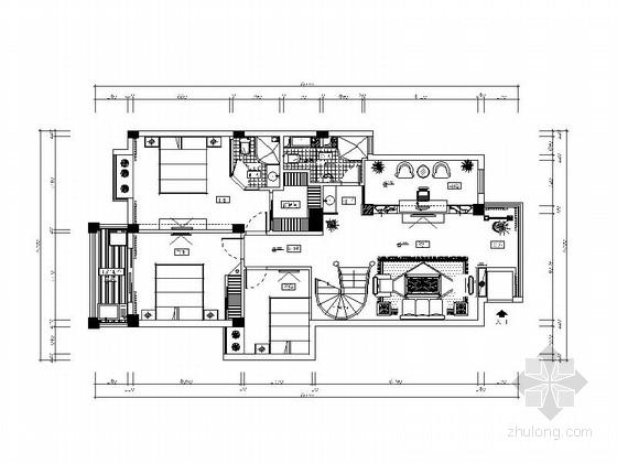 [浙江]豪华欧式含阁楼别墅室内设计CAD施工图