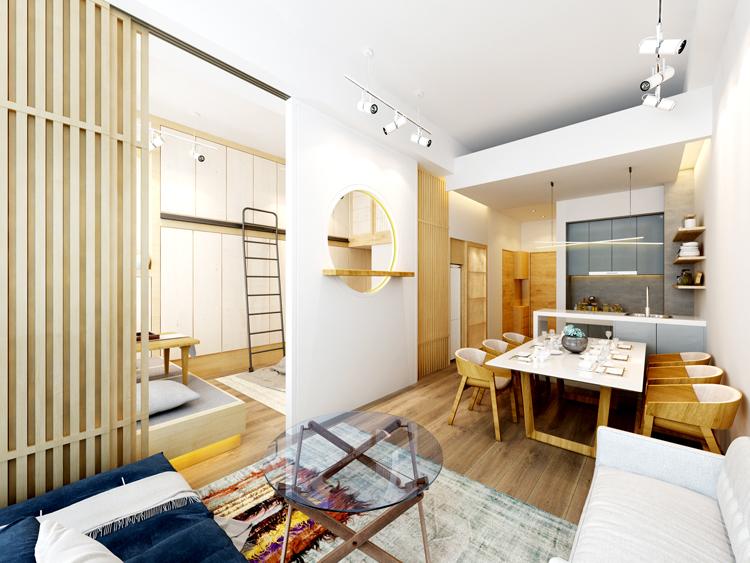 [久栖设计]北京金茂府70㎡小户型日式风格设计丨邂逅禅意
