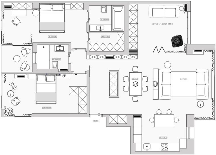 日式简约三居室室内设计方案(平面图+效果图)28页