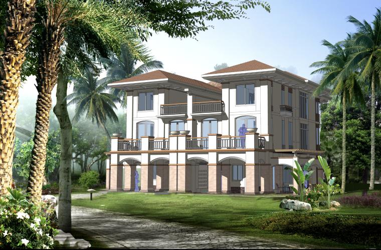 欧式三层独栋别墅建筑设计施工图