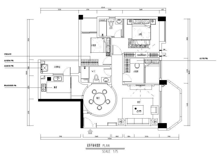 三居室现代风格施工图(附加效果图)