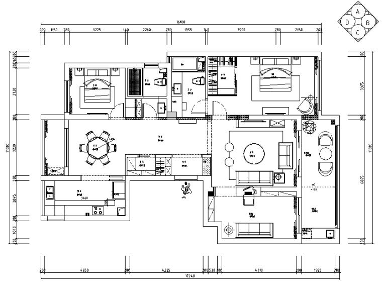 御河湾140平米现代简约住宅设计施工图(附效果图+3D模型)