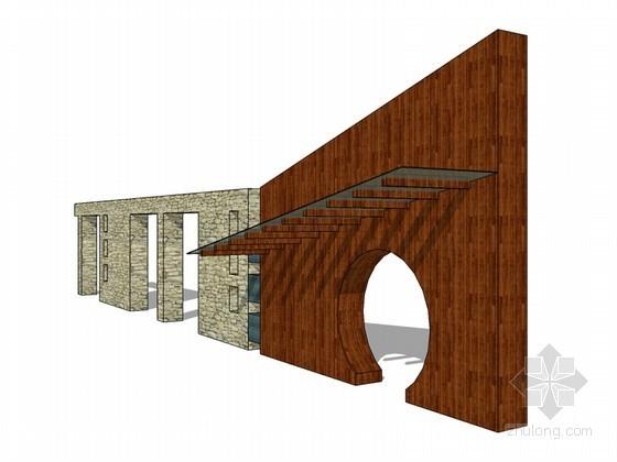 景观墙SketchUp模型下载