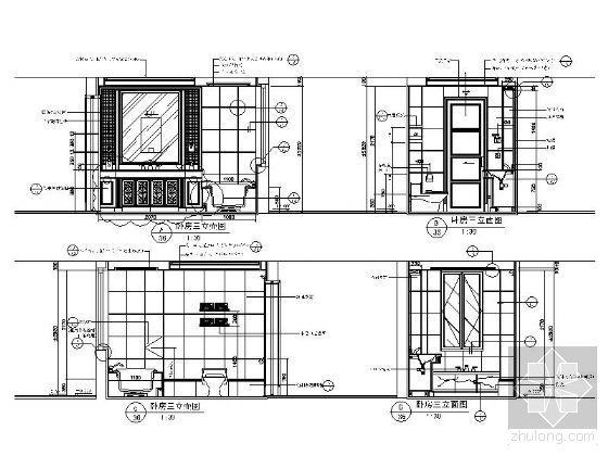 欧式古典卧室卫生间立面图