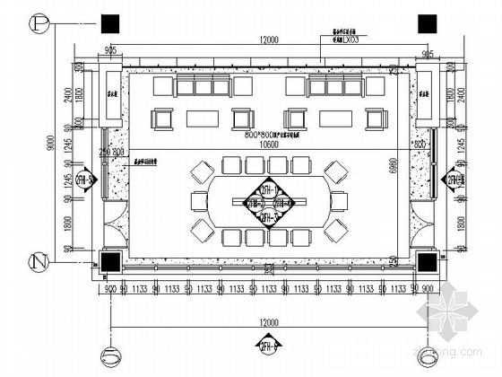 [西安]综合性研究所高级现代办公楼会议室装修施工图(含效果)