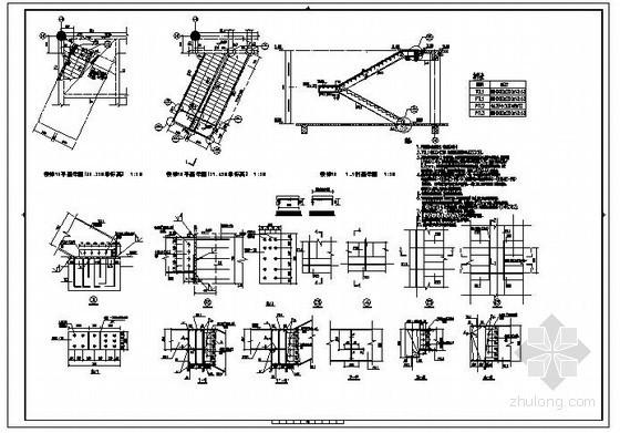 某双跑钢结构楼梯节点构造详图