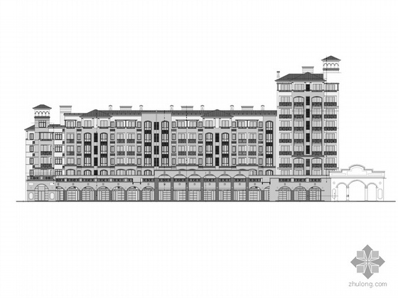 某欧式底商住宅建筑施工图(含立面效果图)