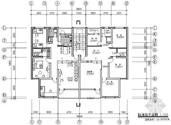 某板式住宅一梯两户单元组合平面(一)