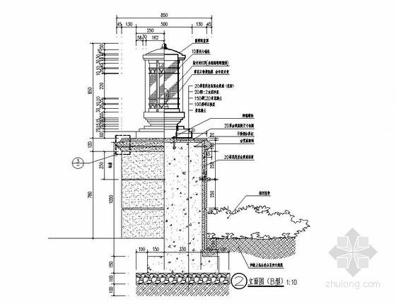 小区欧式景观灯柱施工图