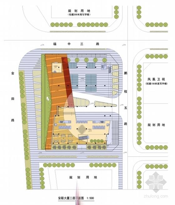 [广东]现代风格超高层商务办公建筑设计方案文本(含CAD)-现代风格超高层商务办公建筑平面图