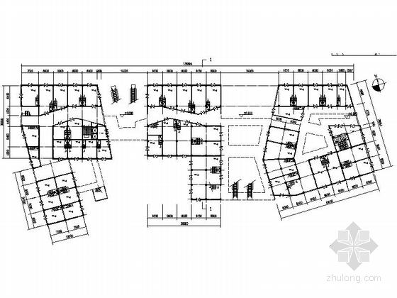 [江苏]景观式企业总部双塔大厦建筑设计方案文本(知名地产含CAD)-景观式企业总部双塔大厦建筑平面图