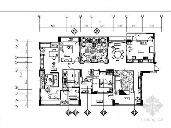 [重庆]知名房地产3室2厅简约时尚样板间室内CAD施工图