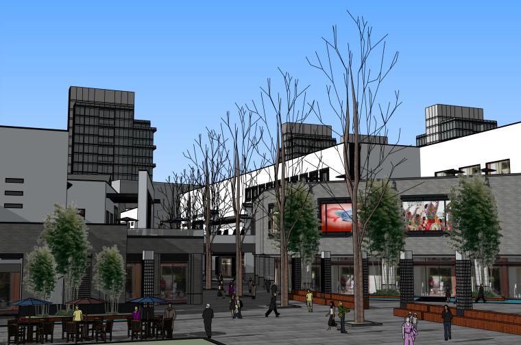 新中式商业步行街建筑设计SU模型