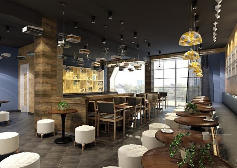 现代工业风格咖啡厅3D成套模型下载