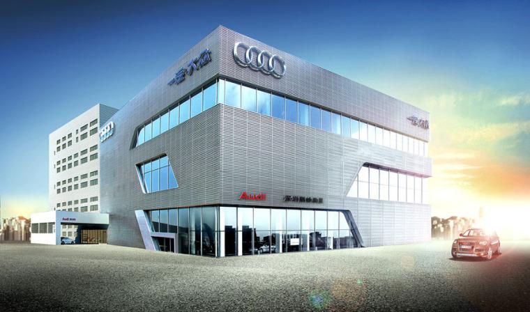 (原创)汽车4S店建筑外观设计案例效果图-4s店12