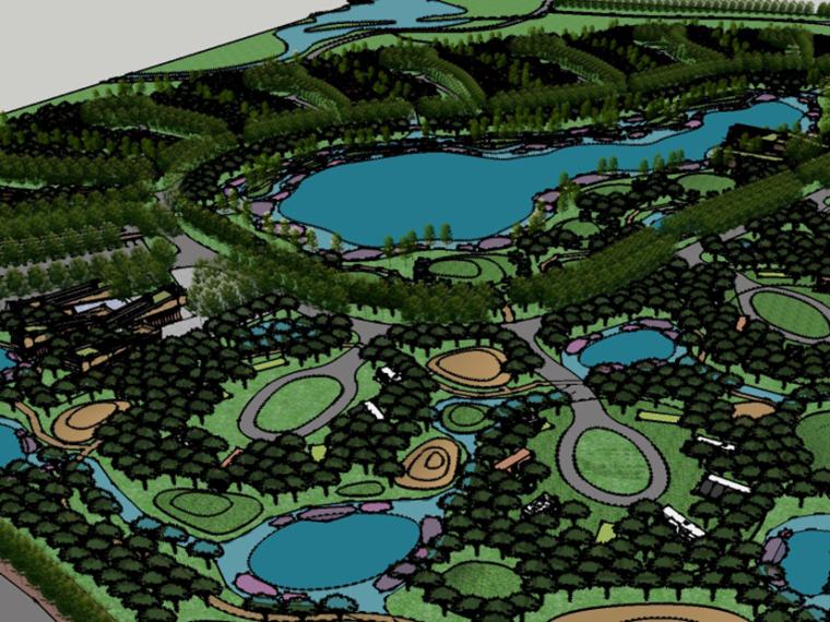 [甘肅]張掖市大型濕地公園景觀規劃設計su模型
