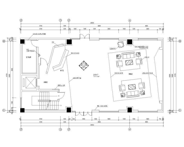 [江苏]无锡中科公司办公室装修施工图+效果图