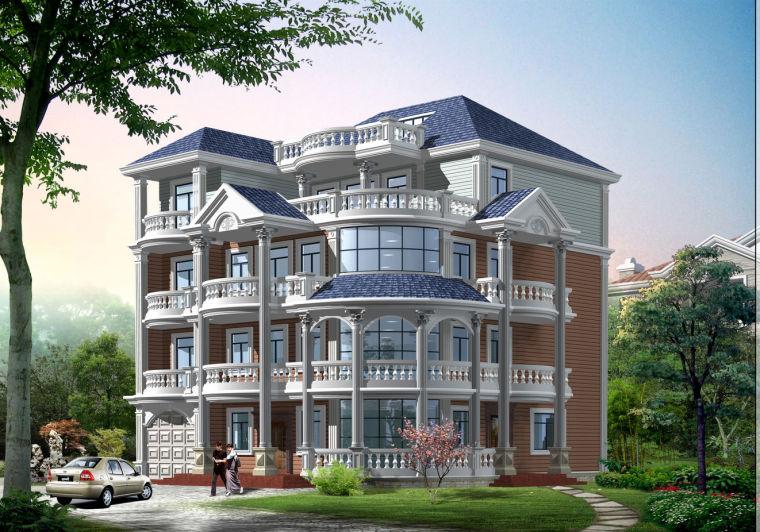 某四层欧式别墅建筑施工图含效果图