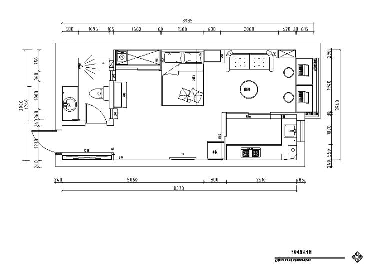 心灵谱一曲情歌LOG主题一居室住宅设计施工图(附效果图)