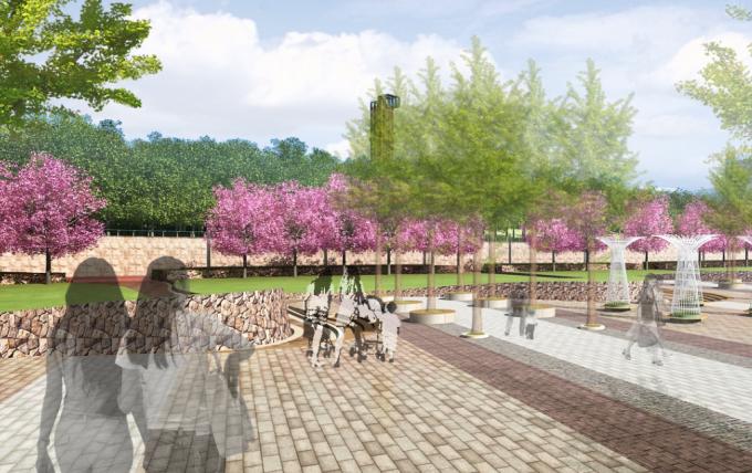 [安徽]生态人文气息流线型山体高差森林公园景观设计方案-特色广场景观效果图