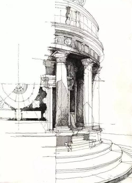 百年经典建筑设计手绘图_9