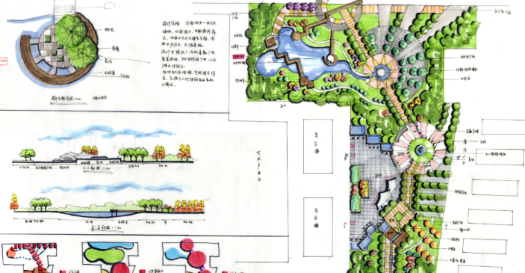 32套公园手绘考研快题设计方案
