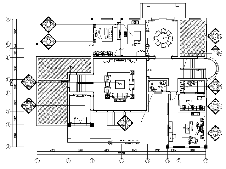 全套歐式別墅住宅設計施工圖(含效果圖)