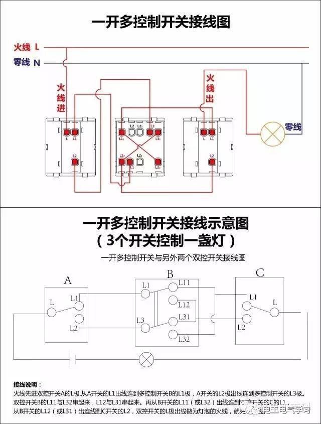 【电工必备】开关照明电机断路器接线图大全非常值得收藏!_11
