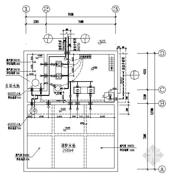陕西某地下水池泵房施工图