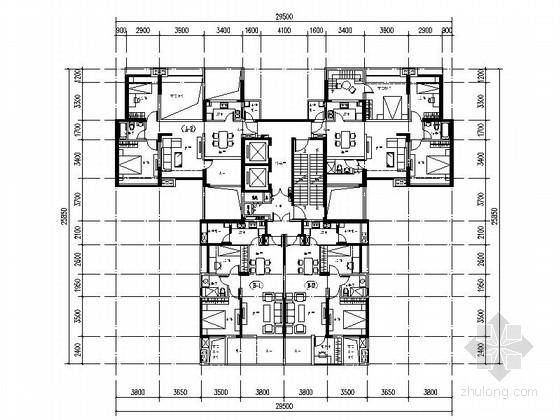 [万科户型]一核四户高层住宅户型图