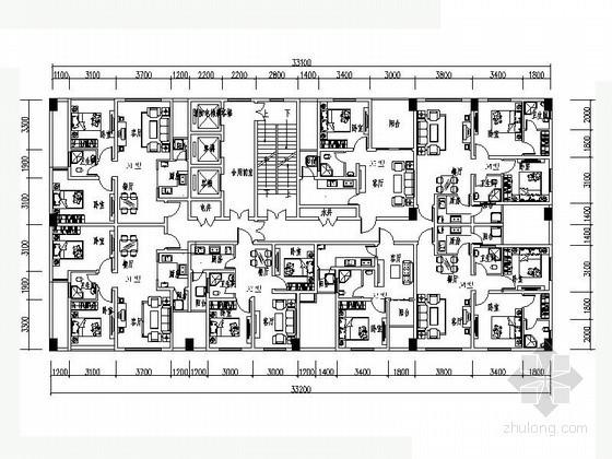 高层住宅一梯七户型平面图(44-80平方米)
