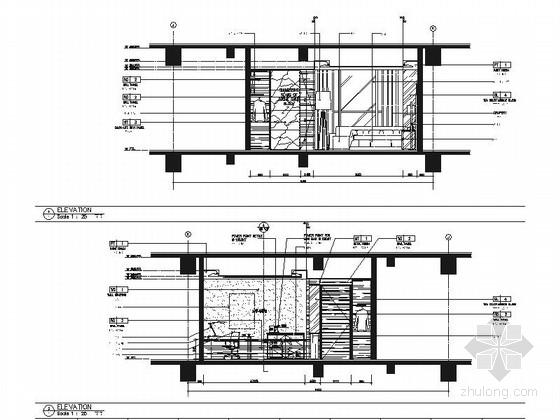 [浙江]全球国际化金融中心高档现代风格综合性酒店装修施工图(含效果)客房立面图