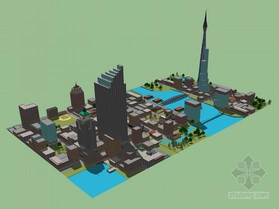 鸟瞰城市建筑SketchUp模型下载