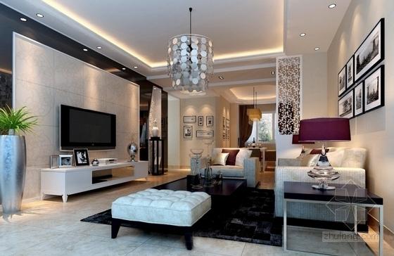 名人雅居三居室室内设计CAD施工图(含效果)客厅效果图