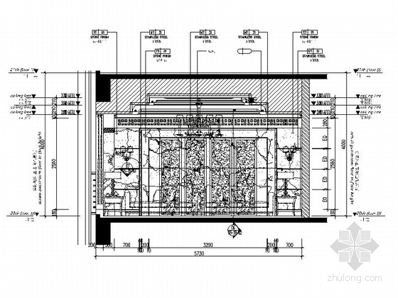 精品现代办公室室内装修施工图接待室立面图