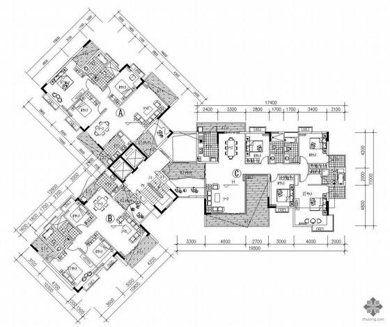 塔式高层一梯三户户型图(126/112/187)