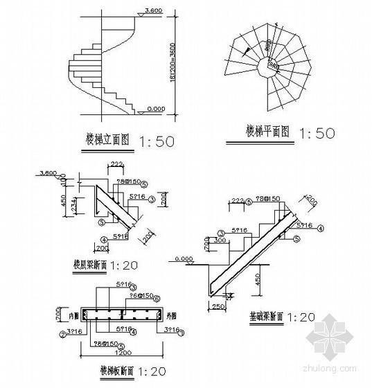 三层别墅螺旋楼梯节点详图