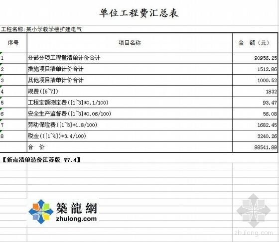 江苏某小学教学楼工程清单报价(土建、消防、电气)