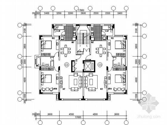 [长春]某花园住宅区一梯二户型平面图