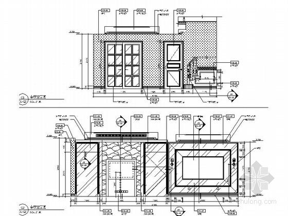 [昆山]顶级住宅时尚现代两层别墅样板房装修图客厅立面图