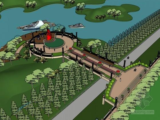 滨水景观SketchUp模型下载