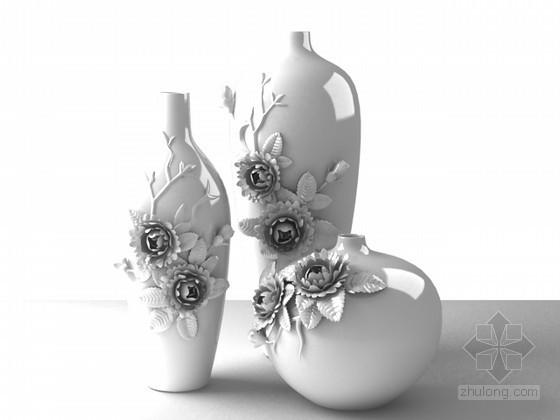 草图大师欧式浮雕模型下载资料下载-牡丹浮雕瓶装饰品3d模型下载